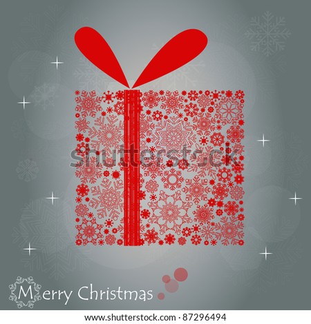 Christmas illustration with gift box. - stock vector