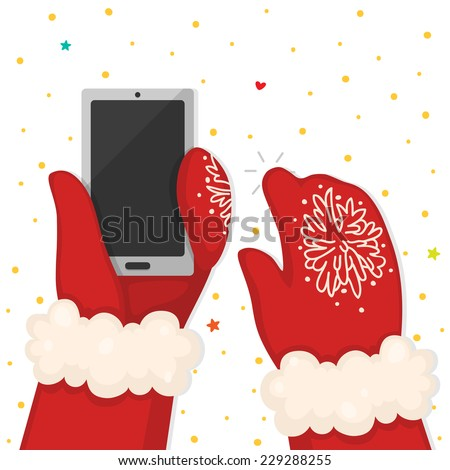 Christmas illustration with hands holding the phone, vector. - stock vector