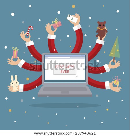 Christmas illustration with many-armed notebook on blue background close up details - stock vector