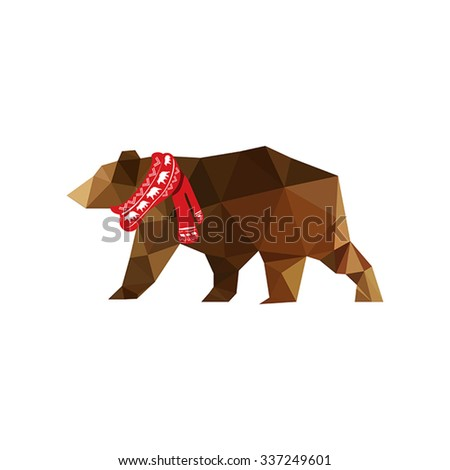 Christmas illustration with origami bear wearing red scarf isolated on white background - stock vector