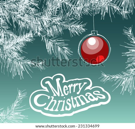 Christmas illustration with red christmas ball hanging on a branch of a fir tree