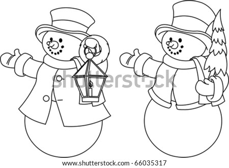 Christmas illustration with two black and white snowmen for coloring - stock vector