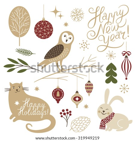 Christmas illustrations. Set of graphic elements and cute characters. - stock vector