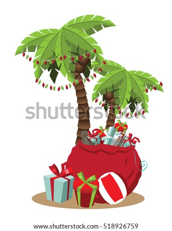 Christmas in a warm climate palm tree with Christmas lights and Christmas gifts cartoon. EPS 10 vector.