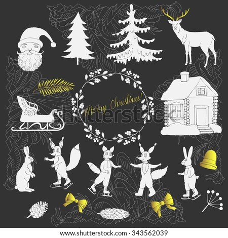 Christmas in forest. Silhouettes for Christmas decoration. Hand drawn elements for holidays. Vector illustration