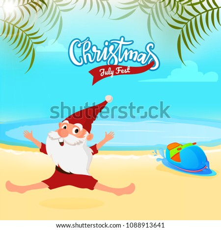 Christmas July Fest Sale Banner Poster Stock Vector 1088913641