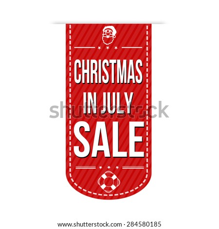 Christmas in july sale banner design over a white background, vector illustration - stock vector