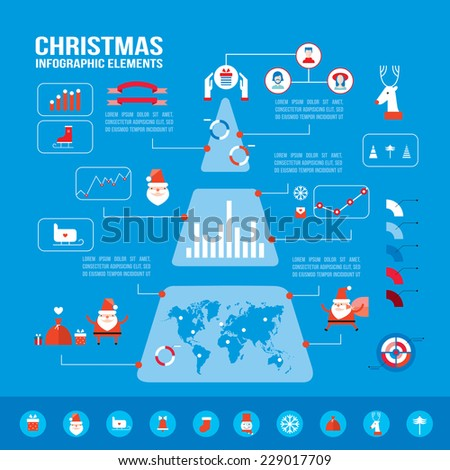 Christmas infographic elements for your business. Modern flat design style. Vector illustration - stock vector