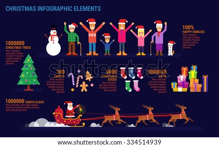 Christmas infographic elements in flat style. Happy family concept.Christmas tree, sweets, christmas socks, gifts and Santa Claus.  - stock vector