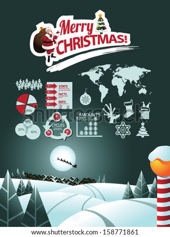 Christmas Infographic. EPS 10 vector, grouped for easy editing. No open shapes or paths. Portions of this image supplied by NASA. - stock vector