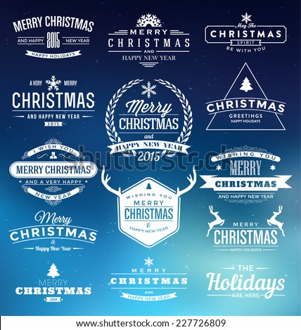 Christmas Insignia Set - Vector design elements, premium signs, labels, badges collection  - stock vector
