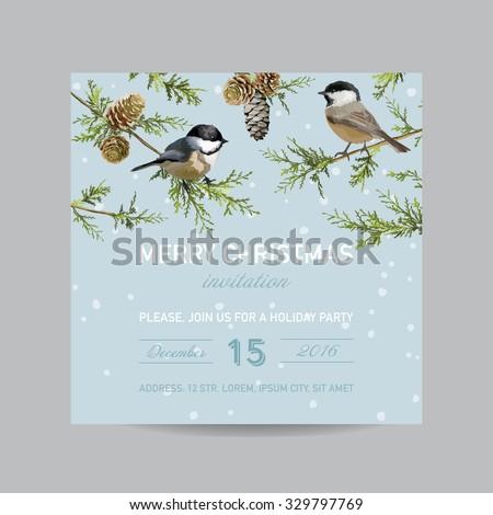 Christmas Invitation Card - Winter Birds in Watercolor Style - vector - stock vector