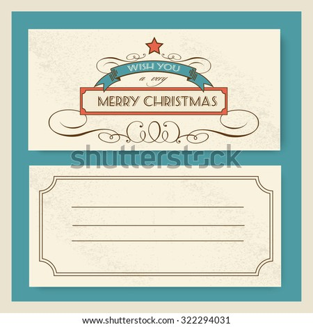 Christmas invitation retro typography and ornament decoration. Christmas holidays flyer or poster design. Vector illustration  - stock vector