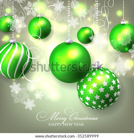 Christmas invitation with Christmas balls