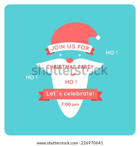 Christmas invitation with santa, flat vector illustration - stock vector
