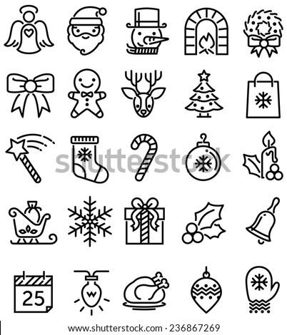 Christmas ios flat style icons - stock vector