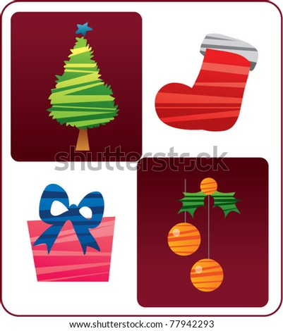 Christmas items - stock vector