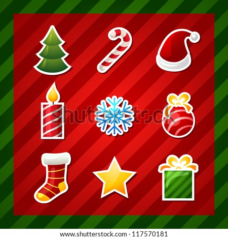 christmas items icons. new year element - stock vector