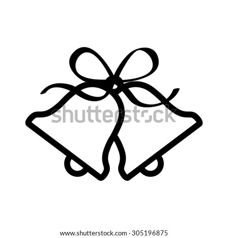 Christmas jingle bells with ribbon bow line art icon for apps and websites - stock vector