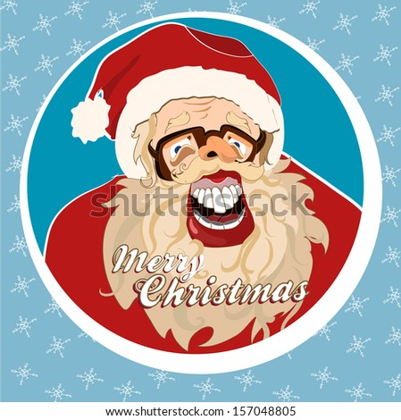 Christmas joke card with cartoon Santa. EPS 10 - stock vector