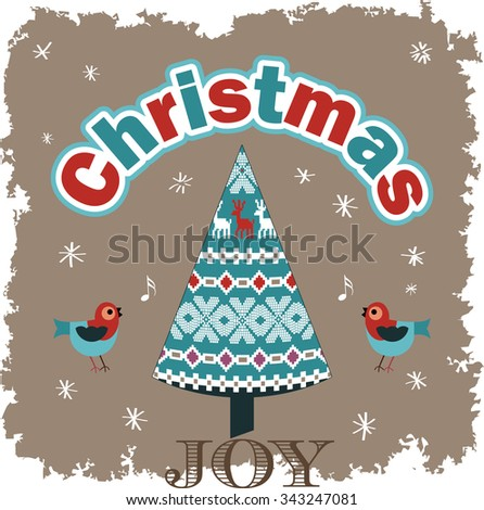 Christmas Joy - Singing birds pattern tree grunge snow  - stock vector
