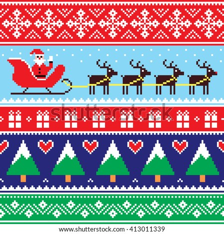 Christmas jumper or sweater seamless pattern with Santa and reindeer  - stock vector