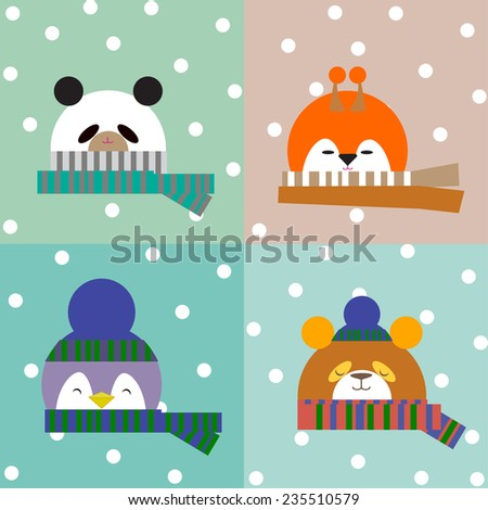 Christmas Kids in animal costumes. Set. Illustration. - stock vector
