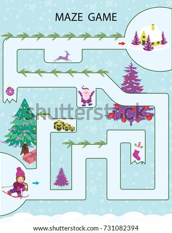 Christmas Kids Printable Game Vector Illustration Stock Vector (2018 ...