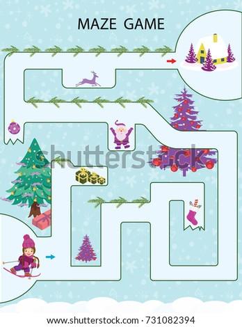 Christmas Kids Printable Game Vector Illustration Stock Vector (2018 ...