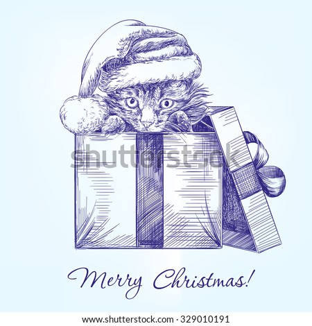 Christmas kitten in Santa stocking hat hand drawn vector llustration  realistic  sketch - stock vector