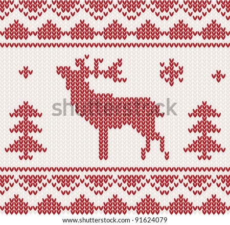 Christmas Knitted background with deer, trees and ornament - stock vector