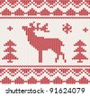 Christmas Knitted background with deer, trees and ornament. Christmas concept for banner, placard, billboard or web site. New Year retro greeting card. Image for invitation - stock vector