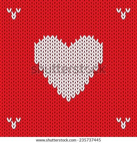 Christmas Knitted background with heart. Vector illustration. - stock vector