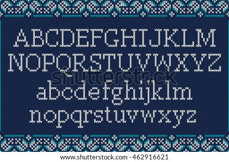 Christmas Knitted Font Knitted Latin Alphabet Stock Vector ...
