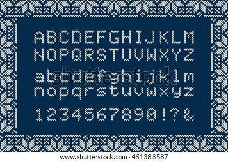 Christmas Knitted Font Nordic Fair Isle Stock Vector Hd Royalty