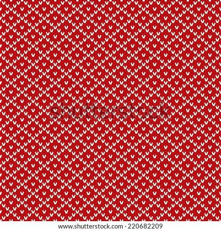 Christmas knitted seamless pattern. Vector illustration - stock vector