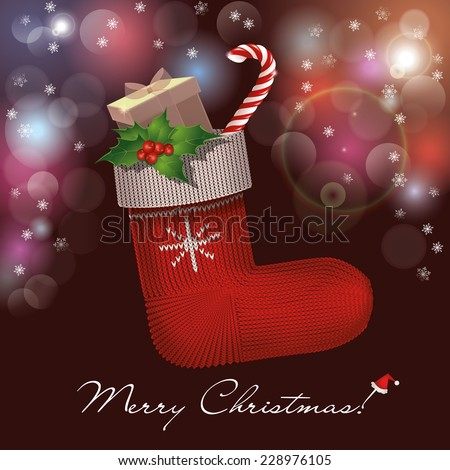 Christmas knitted sock with gifts, holly and candy cane in a bright background. - stock vector