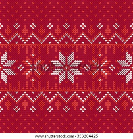 Christmas knitting seamless pattern with nordic motifs in Red and White. Perfect for wallpaper, wrapping paper, pattern fills, winter greetings, Christmas and New Year greeting cards - stock vector