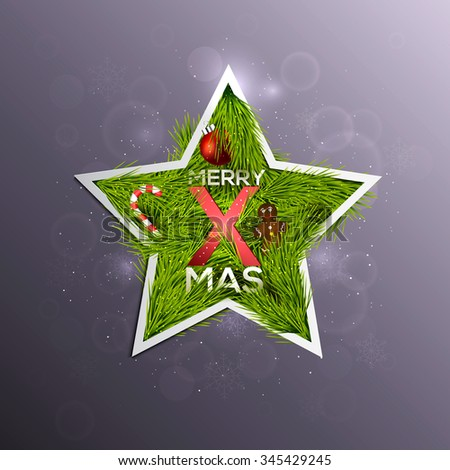 Christmas Label Made of Pine Branches and Decorated with Colored Baubles, sweets, snowflakes and berries. Vector - stock vector