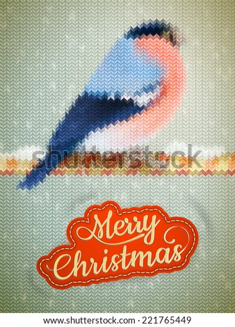 Christmas label on a knitted Bullfinch background. EPS 10 vector file included - stock vector