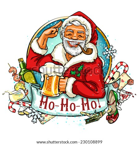 Christmas label with Santa and ribbon banner - stock vector