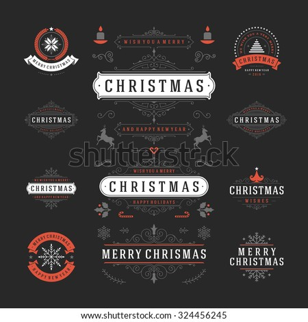 Christmas Labels and Badges Vector Design. Decorations elements, Symbols, Icons, Frames, Ornaments and Ribbons, set. Typographic Merry Christmas and Happy Holidays wishes. - stock vector