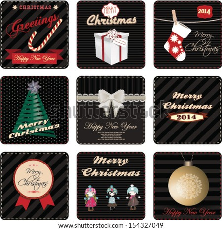 Christmas labels and invitations cards