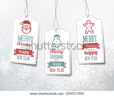 Christmas labels - decorations on a snowy winter background. Can be used as name tags for gifts.  - stock vector