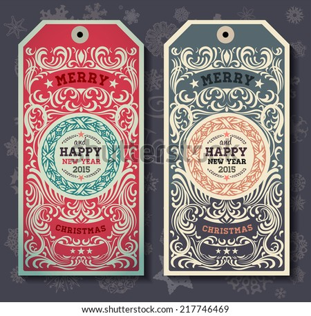 Christmas labels for Xmas and New Year holidays design. Snowflakes set. - stock vector