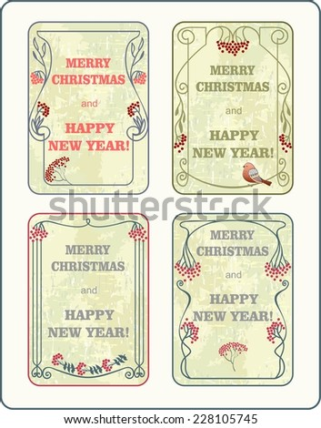 Christmas Labels in art nouveau style for decoration and design - stock vector