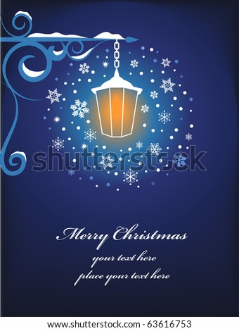 Christmas lamppost background - stock vector