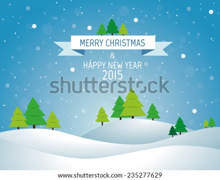 Christmas landscape background with snow and tree, wish card - stock vector