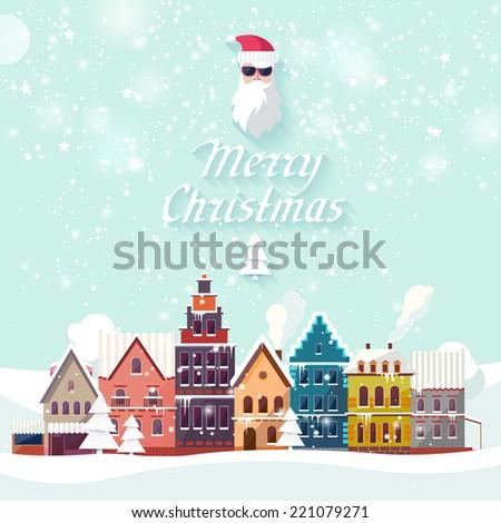 Christmas landscape. Flat design. - stock vector