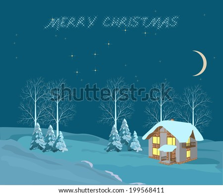 Christmas landscape. Little House on the background of a winter landscape and the night sky. illustrations